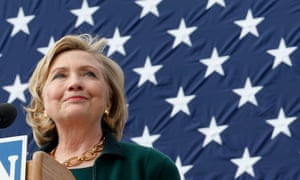 Hillary Clinton gives a speech in Indianola, Iowa.