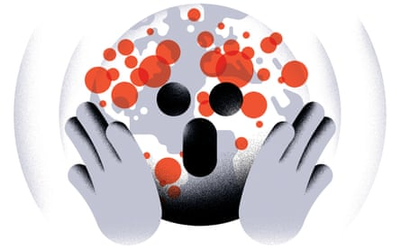 Illustration of globe looking like a face screaming with hands up, and red virus dots across it