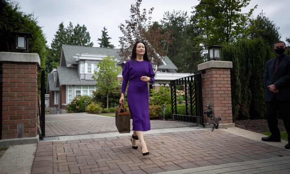 Meng Wanzhou leaves her home in Vancouver to attend her extradition hearing in August.