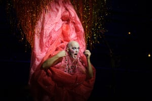 Mac, swathed in a detailed vulva costume.