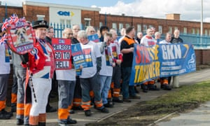 A protest in March 2018 against Melrose's takeover of GKN outside a GKN factory in Erdington, Birmingham.