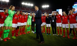 Phil Neville addresses his England team after victory over Japan at the SheBelieves Cup in 2019