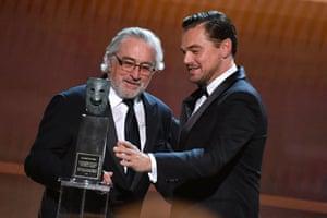 Leonardo DiCaprio presents Robert De Niro with the SAG Life Achievement Award