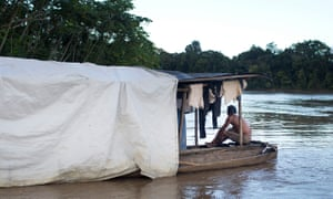 A Peruvian boat on the River Curaray in Ecuador, photographed during the reconnaissance trip..