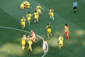 Sweden players celebrate after the final whistle goes.