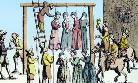 The hanging of the 'witches' in Newcastle upon Tyne in 1650.