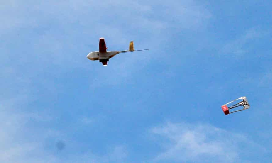A drone drops its first blood delivery in the compound of Kabgayi hospital, south of Kigali, Rwanda.