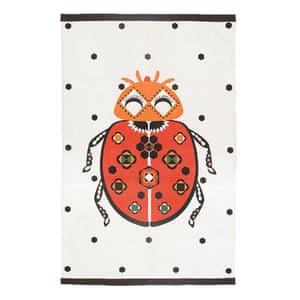 ladybird rug, cream, black, white, red, orange