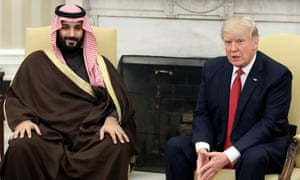 Mohammed bin Salman with Donald Trump in the Oval Office in March.