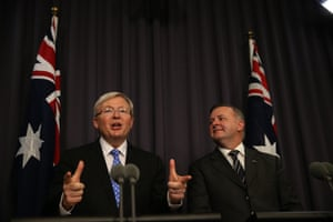 Prime minister Kevin Rudd and deputy PM Anthony Albanese in June 2013.