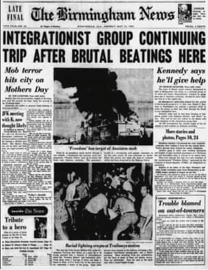 A photo captured by Gaffney on the front page of the Birmingham News after an attack by a white mob on Freedom Riders protesting segregation in the south.