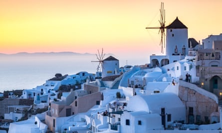 Sunset in Oia, on the northern tip of the Greek island of Santorini.