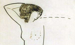 Detail of Amedeo Modigliani's (1884-1920) sketch of Anna Akhmatova (1889-1966), drawn while they were lovers.