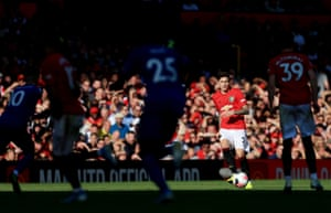 Victor Lindelöf of Manchester United is lit up in the sunlight during the Premier League match between Manchester United and Leicester City at Old Trafford. United edged to a 1-0 win courtesy of an eighth-minute penalty from Marcus Rashford.