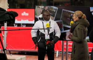 """Eliod Kipchoge is interviewed by the BBC after the race. He said of his disappointing performance: """"""""It's not the end of the world that I can't win. The last 15km, I felt my right ear was blocked. I had cramp in my hip and leg."""""""