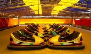 Locked down bumper cars at the closed and deserted funfair on Bridlington seafront in North Yorkshire.