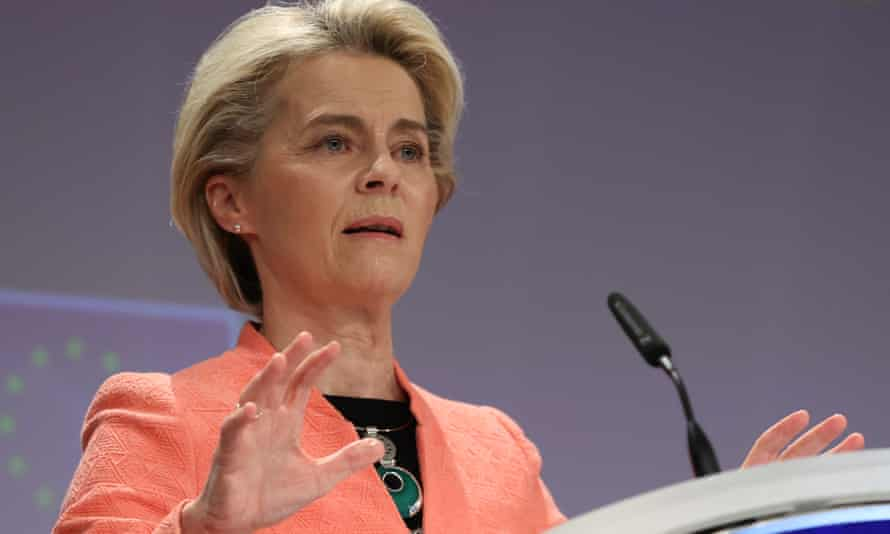 Ursula von der Leyen, president of the European Commission, attends a press conference as the EU unveils a landmark climate plan in Brussels.