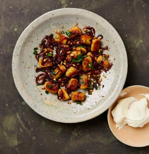 Yotam Ottolenghi's gnocchi with sumac onions and brown butter pine nuts.