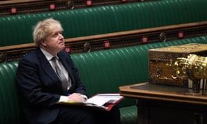 Perdana Menteri Inggris Boris Johnson menghadiri Pertanyaan Perdana Menteri (PMQ), di House of Commons, di pusat kota London.