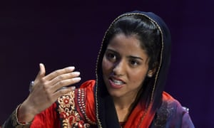 Afghan rapper Sonita Alizadeh speaks at the Women in the World summit in London, Britain, October 9, 2015. REUTERS/Toby Melville