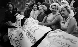 Labour politician Baroness Edith Summerskill, left, with striking Ford machinists from Dagenham in 1968.