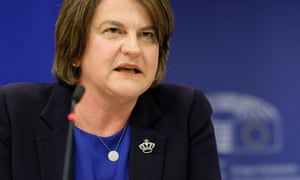 DUP leader Arlene Foster gives a press conference after a meeting with Michel Barnier in Brussels.