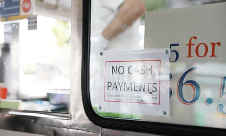 A 'no cash payments' sign on a doughnut van in Melbourne.