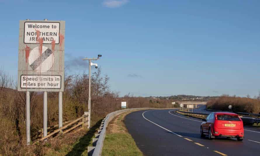 Signage welcoming motorists from the Irish Republic into Northern Ireland.