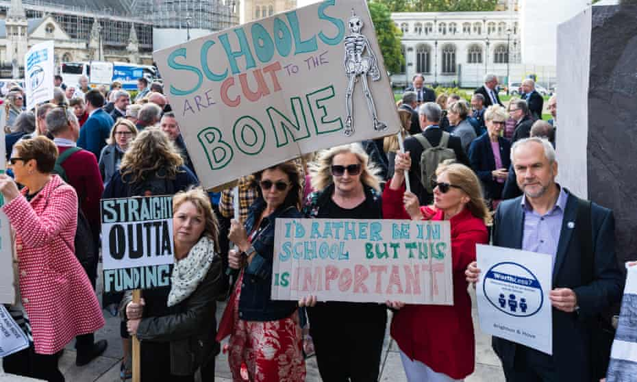 A protest by headteachers in central London