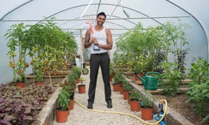 Shaish Alam in his polytunnel.