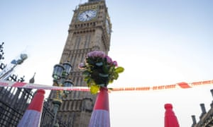 Flowers left in Westminster after the terrorist attack.