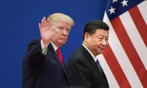 Donald Trump and Xi Jinping leaving a business leaders event at the Great Hall of the People in Beijing last November