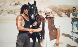 Bronco McLoughlin, right, with Sylvester Stallone during the making of Rambo III
