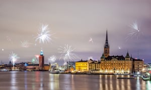 New Year fireworks in Stockholm, Sweden