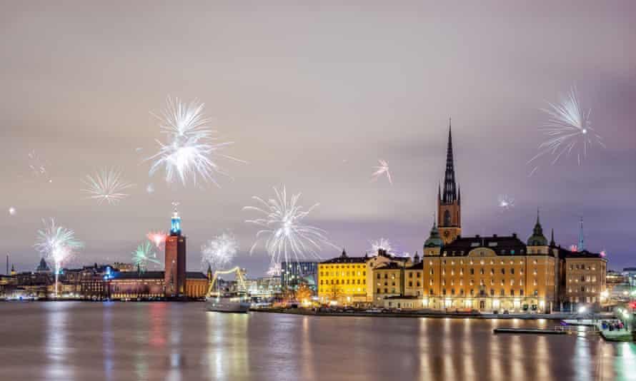 New Year fireworks in Stockholm, Sweden