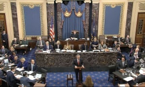 In this image from video, the White House counsel, Pat Cipollone, speaks during closing arguments in the impeachment trial against President Donald Trump on Monday.