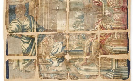 One of the prized Haddon Hall tapestries that was damaged by fire in 1926.