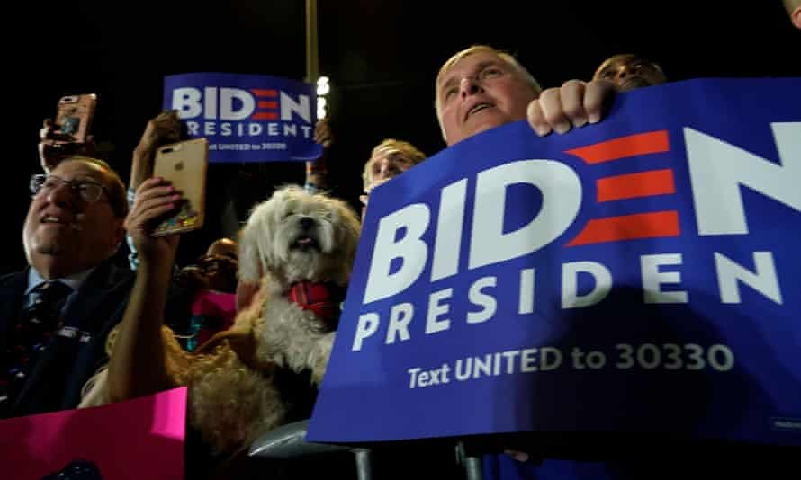 Supporters attend a rally for Joe Biden in Los Angeles, California.