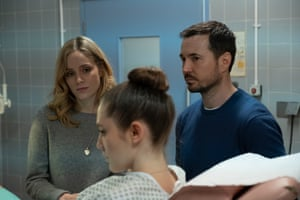 Emily (Sophie Rundle), Kaya (Mirren Mack) and Dan (Martin Compston) in a scene from The Nest