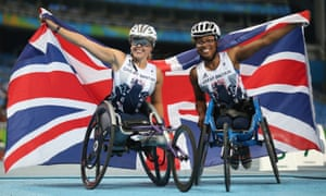 Britain's Hannah Cockroft (left) and Kare Adenegan celebrate winning the gold and bronze in the women's T34 400m at the Rio Games