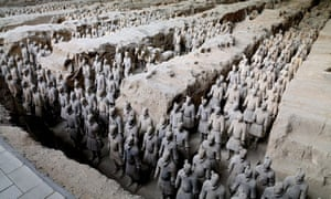 Some of the 8,000 life-size terracotta figures near the tomb of China's first emperor.