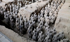 Excavations of the terracotta warrior army in the tomb of the emperor Qin Shi Huang in China.