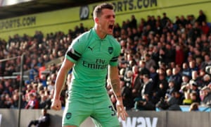 Granit Xhaka celebrates his equaliser.