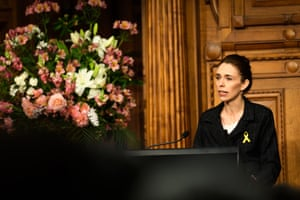 Wellington, New Zealand. The prime minister, Jacinda Ardern, speaks at the 10th anniversary of the Pike River mine disaster in which 29 men were trapped and killed underground after an explosion