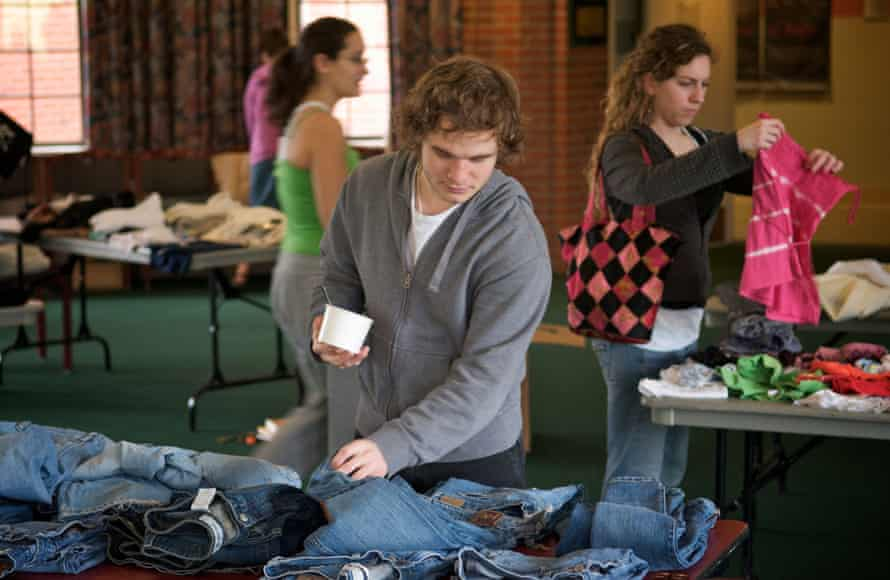 A visitor at a clothing swap at the University of Puget Sound in Tacoma in the United States.