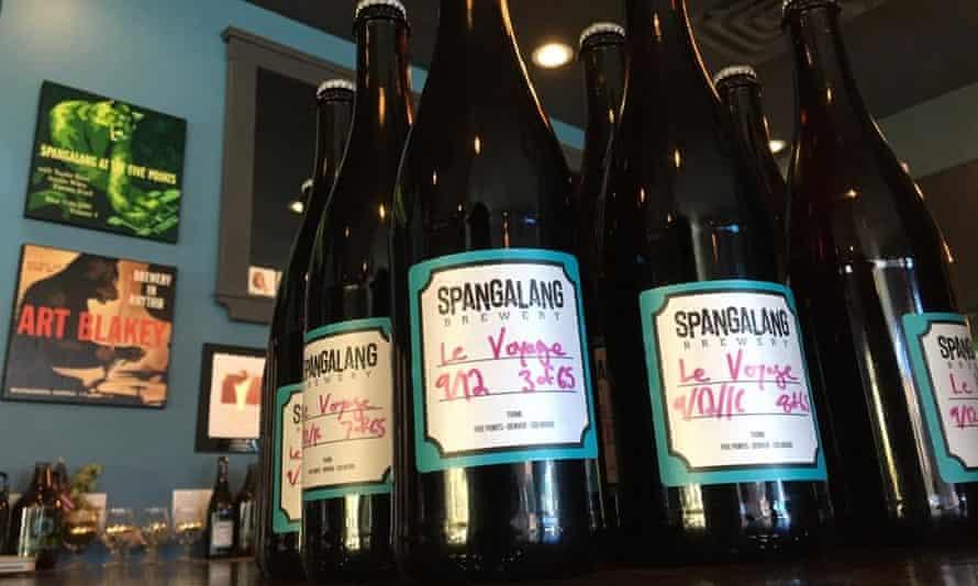 Bottles of Spangalang beer on the bar at Spangalang Brewery, Denver.