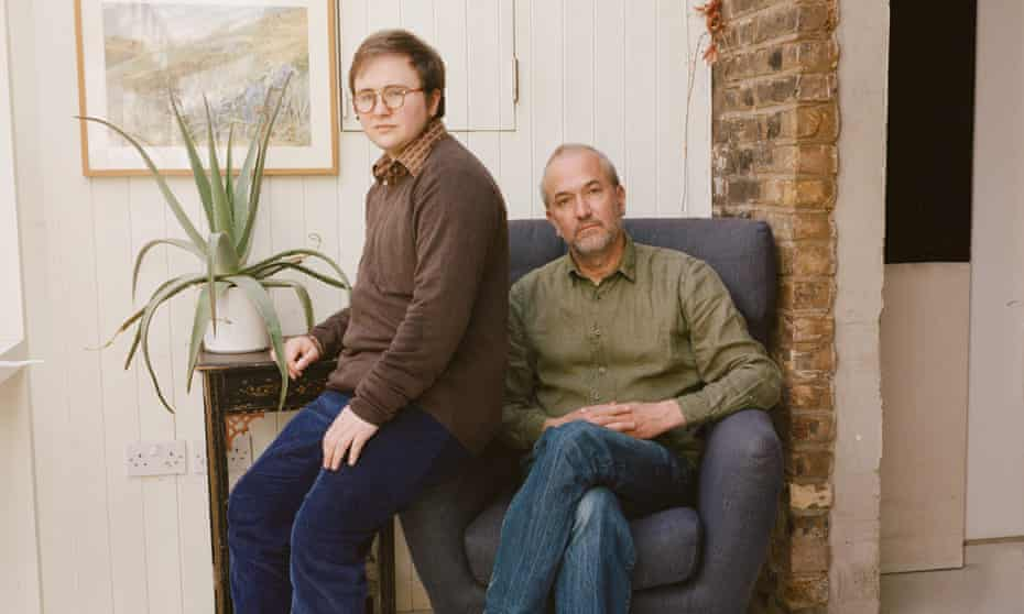 Felix Moore, left, with his father, Rowan Moore, at home in London