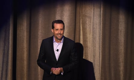 Andrew House, president and CEO of Sony Interactive Entertainment, speaks at the Sony PlayStation E3 press conference at the Shrine Auditorium in Los Angeles.