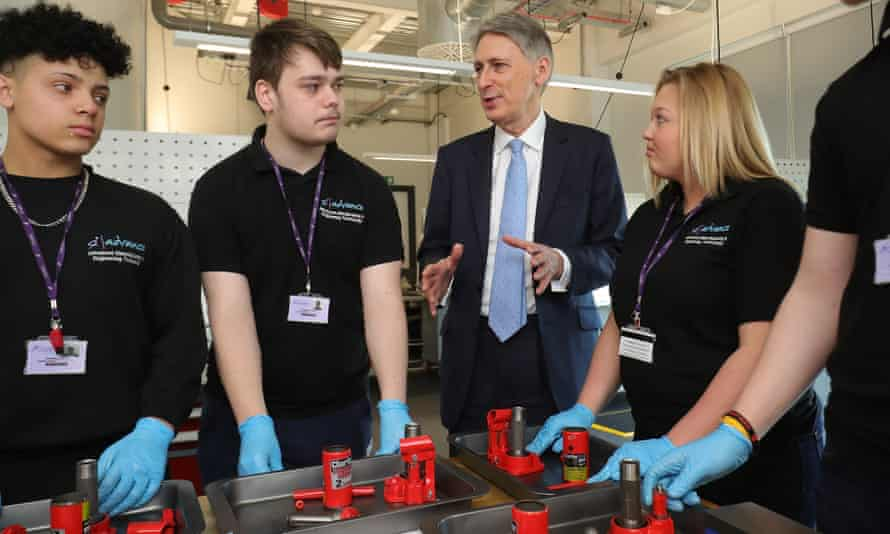 Philip Hammond chats to staff and students at the Advanced Engineering Centre at Dudley College