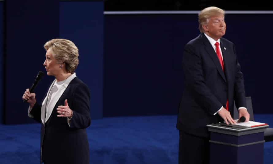 Hillary Clinton and Donald Trump in the second of last year's presidential debates at Washington University in St Louis, Missouri